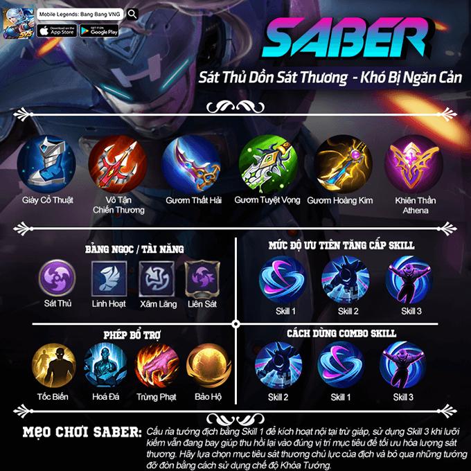 Hướng dẫn chơi Saber game Mobile Legends: Bang Bang