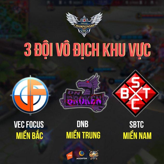 Ba đội vô địch vòng loại 360mobi Championship Series Mùa 2