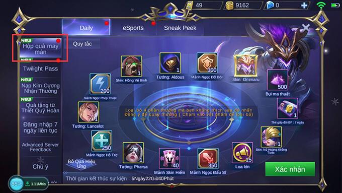 Hộp Quà May Mắn game Mobile Legends: Bang Bang