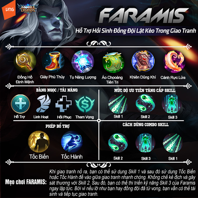 Hướng dẫn chơi Faramis: Hỗ trợ hồi sinh đồng đội, lật kèo trong giao tranh