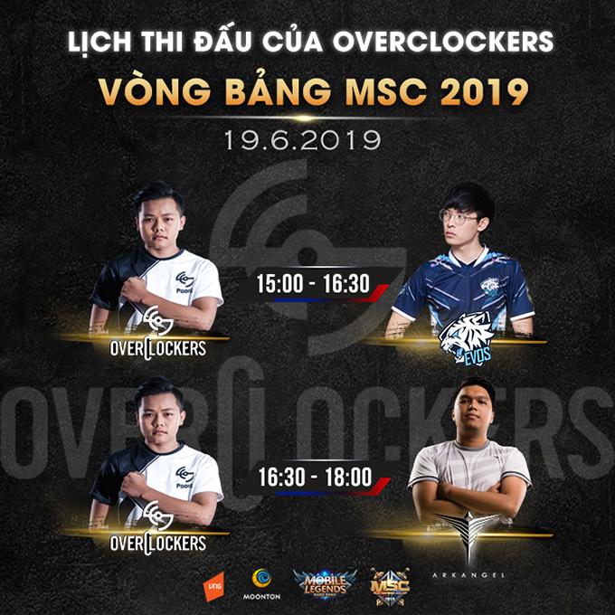 Lịch thi đấu của Overclockers tại vòng bảng MSC 2019