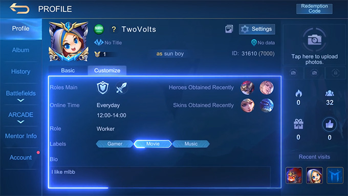 Thêm mục Tùy Chỉnh vào trang cá nhân của người chơi