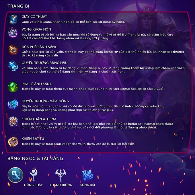 Trang bị và bảng ngọc đề cử dành cho Valir