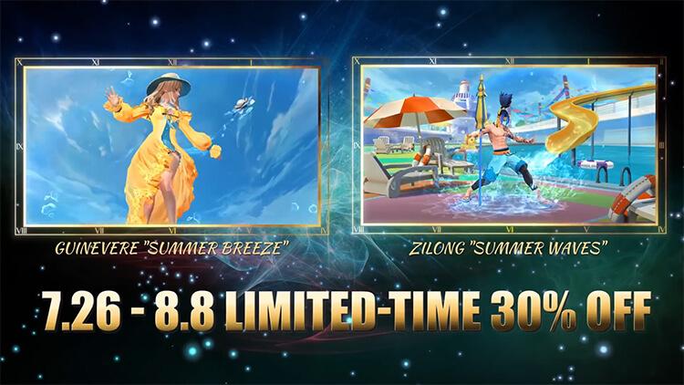 Giảm giá 30% hai trang phục Guinevere Mùa Hè Rực Rỡ và Tử Long Lướt Sóng Biển Xanh từ ngày 26/07 đến ngày 08/08/2021.